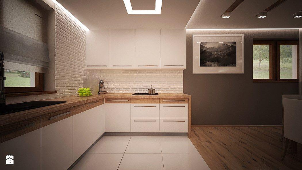 Biała Cegła W Kuchni Drewniana Podłoga Białe Płytki Szare