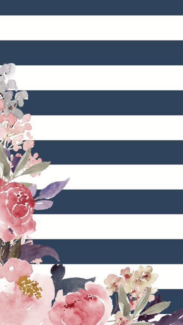 Stripes with some pretty flowers wallpaper