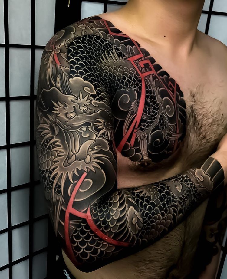 Absolutely Beautiful Japanese Tattoo Sleeves By Horikaka Swipe To The Side To See Both Photos Irezumi Japanese Sleeve Tattoos Tattoos Dragon Sleeve Tattoos
