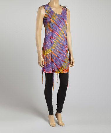 Love this Purple & Orange Tie-Dye Sleeveless Tunic on #zulily! #zulilyfinds, $27 !!