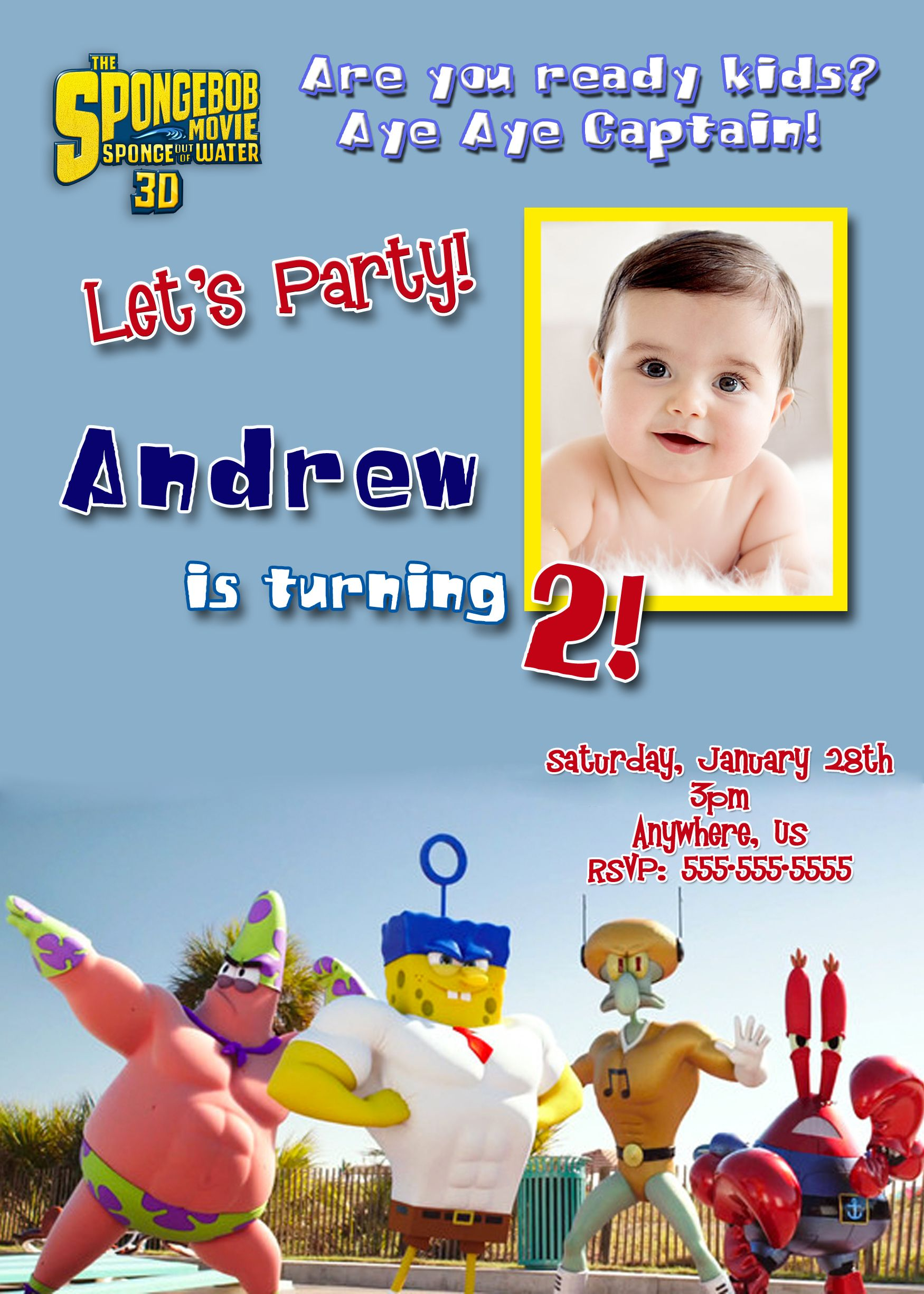 Spongebob Squarepants 3D Movie Birthday Invitations Available At Partyexpressinvitations Personalized