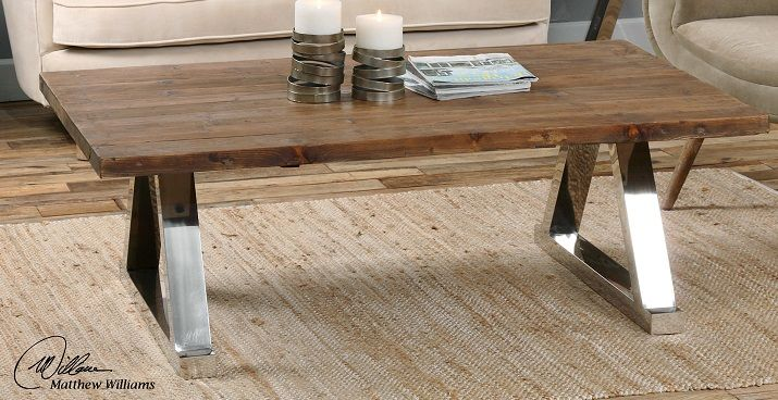 Hesperos Coffee Table. Solid reclaimed fir, and polished stainless steel legs. $769.