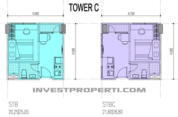 Tower C Tipe Unit Studio Apartemen B Residence Apartemen
