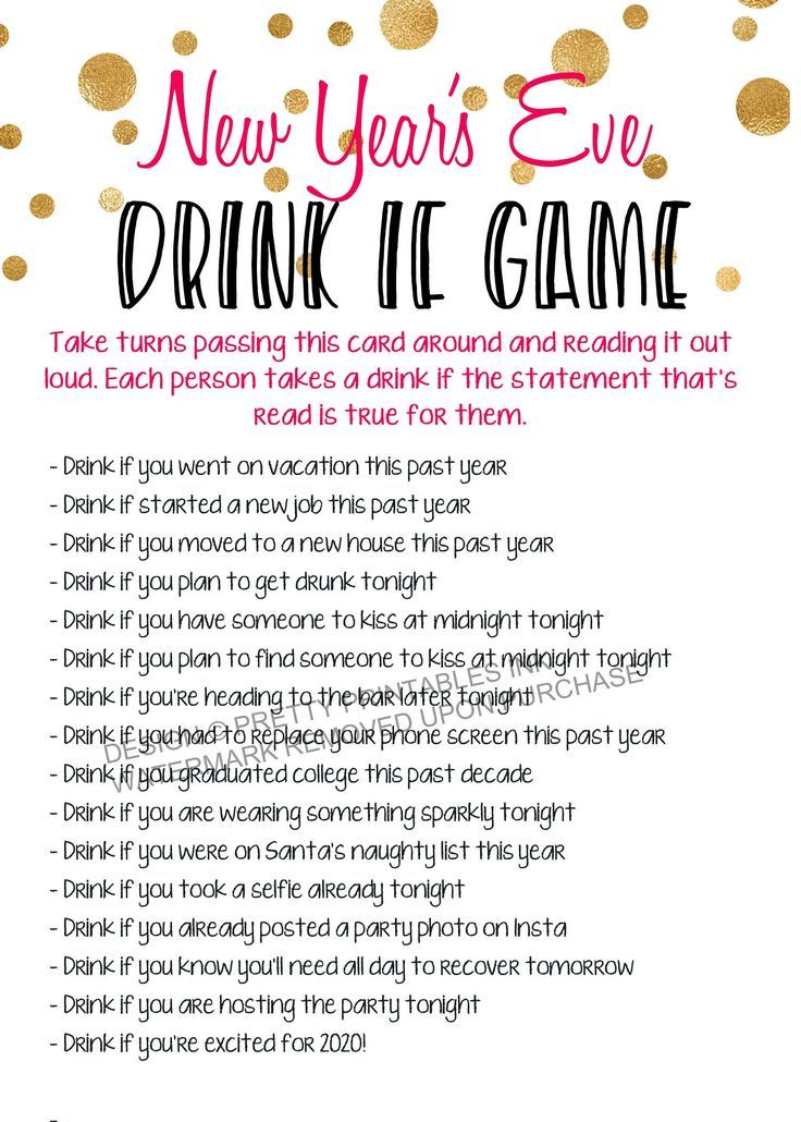 New Year's Eve Drink If Game, Instant Download New Year's
