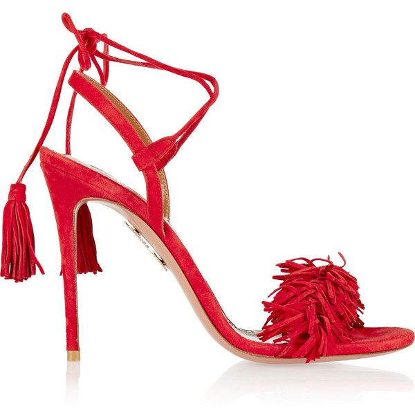 Aquazzura Wild Thing Fringed Suede Sandals 735 Liked On Polyvore Featuring Shoes Sandal Red Sandals Heels Red High Heel Sandals Ankle Strap Sandals Heels