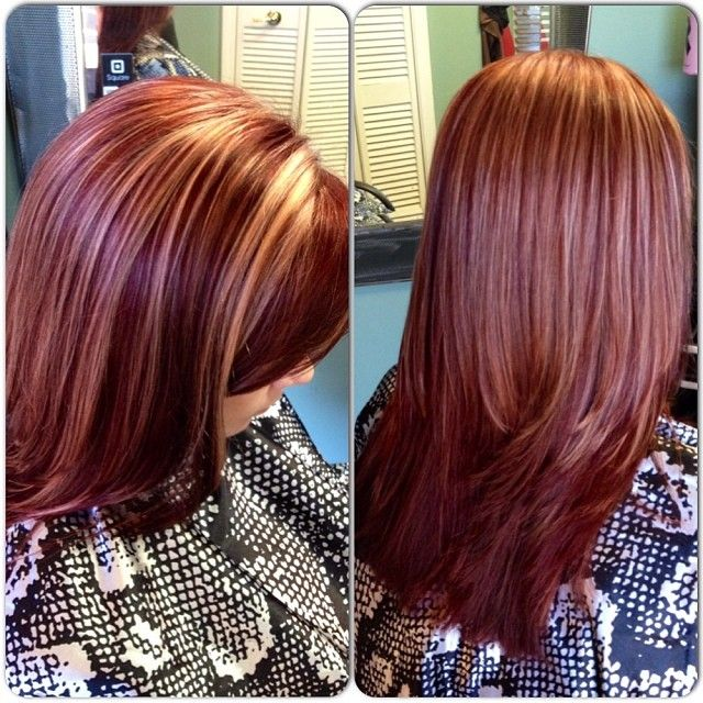 Mahogany Red With Blonde Highlights Schwarzkopf Hair Color Hair Styles Colored Hair Tips