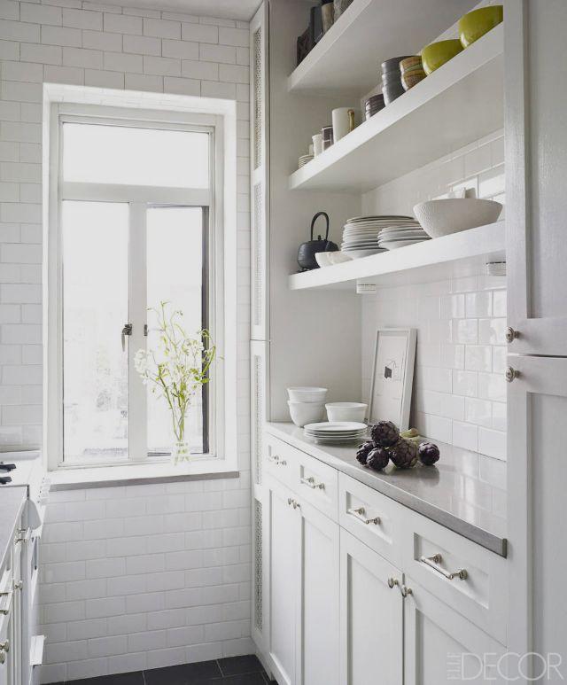 White Galley Kitchen Images utilise thinner units | kitchen ideas | pinterest | open shelving