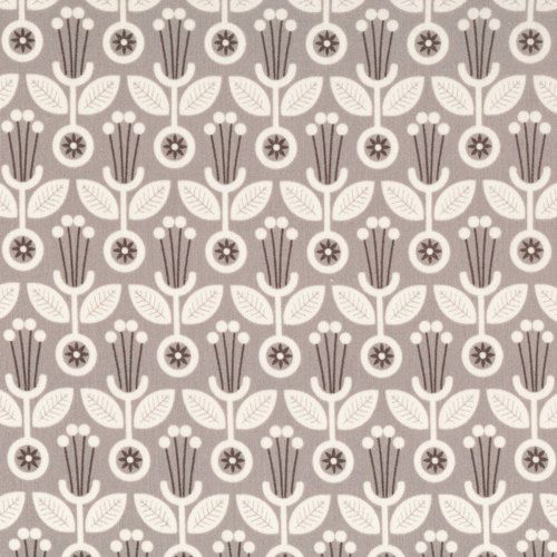 GREY ABBEY by Elizabeth Olwen for Cloud 9 Fabrics - Deco Floral (Gray) - Organic Quilting Weight Cotton Fabric