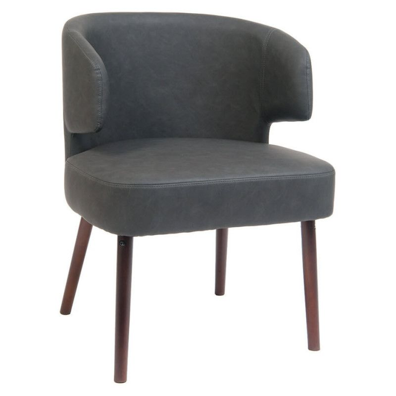 Dark Grey PU Leather Chair with Mahogany Wood Legs Chair