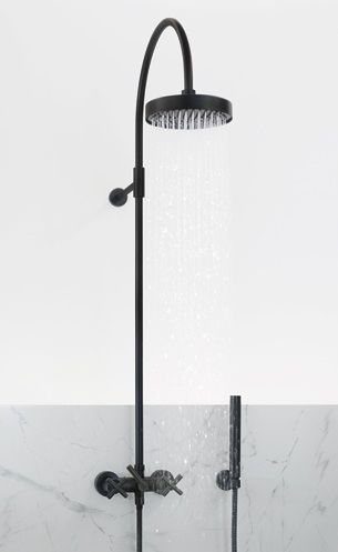 black shower head and faucet. 10 Easy Pieces  Exposed Wall Mounted Showers Black Bathroom FaucetsBathroom Shower