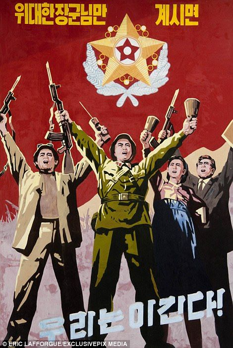 Soldiers are front-and-centre of most of the North's propaganda posters