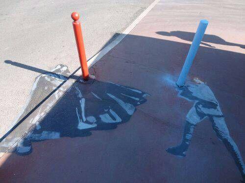Sidewalk chalk art.