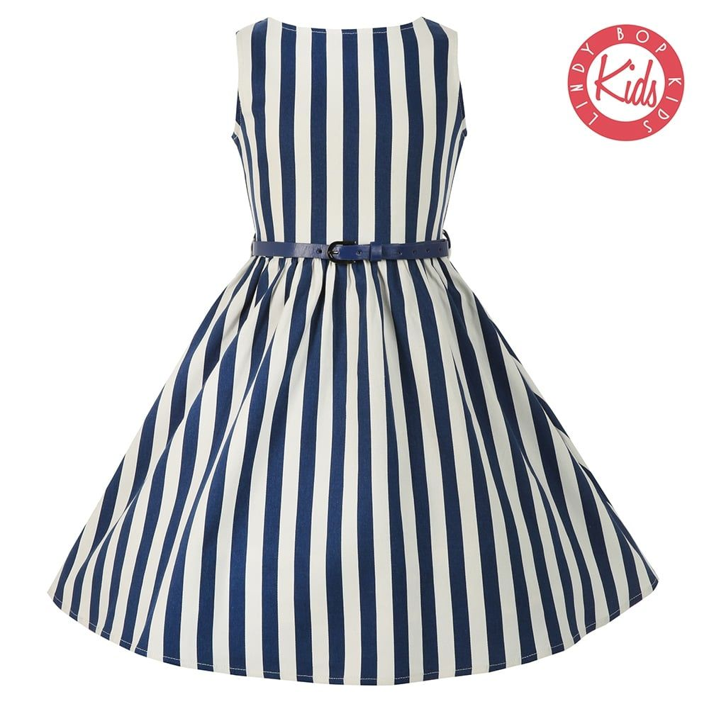 0065b4b923c75 Mini Audrey Blue Stripe Dress | Vintage Style Kids Dresses - Lindy Bop