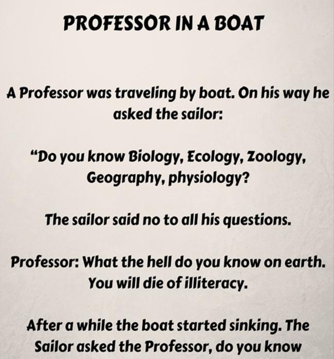 Professor In A Sinking Boat Funny Short Story Short Humor Fun Quotes Funny Funny Professor
