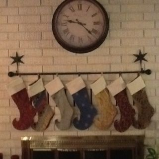 Found A Way To Hang The Stockings Without Mantle Brick Clips Hooks And Curtain Rod Made Too