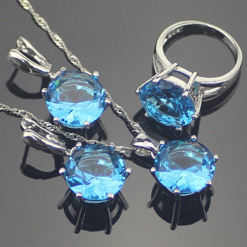 Blue Topaz  Women 925 Sterling Silver Jewelry Sets 925 Sliver Pendant/Necklace/Earrings/Rings Size #6 #7 #8 #9 Free Gift Box
