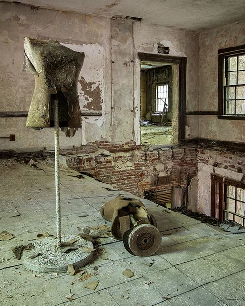 Mannequin forms in an abandoned state hospital