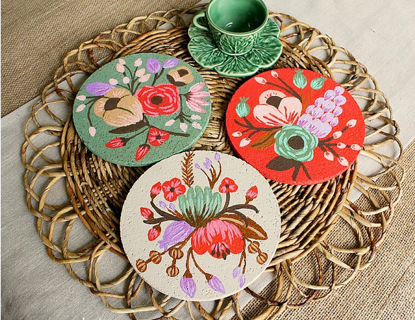 Pretty painted and decoupaged coasters