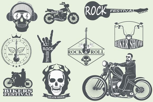 Rock themed badges by Tomass2015 on Creative Market