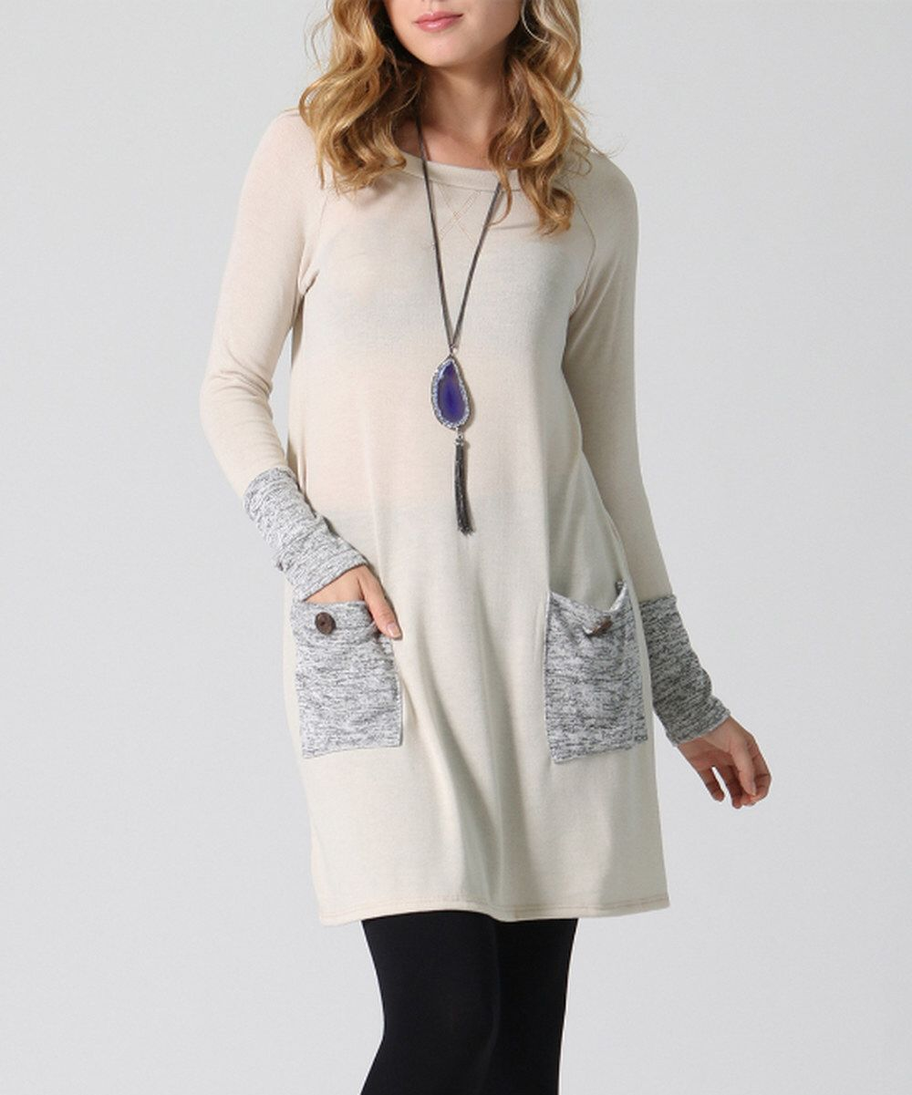Look at this 42POPS Oatmeal Pocket Sweater Tunic on #zulily today ...