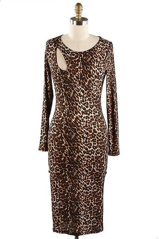 ANIMAL PRINT CUT OUT DETAIL L/S JERSEY DRESS W/ SIDE SLIT from trendnotes.com