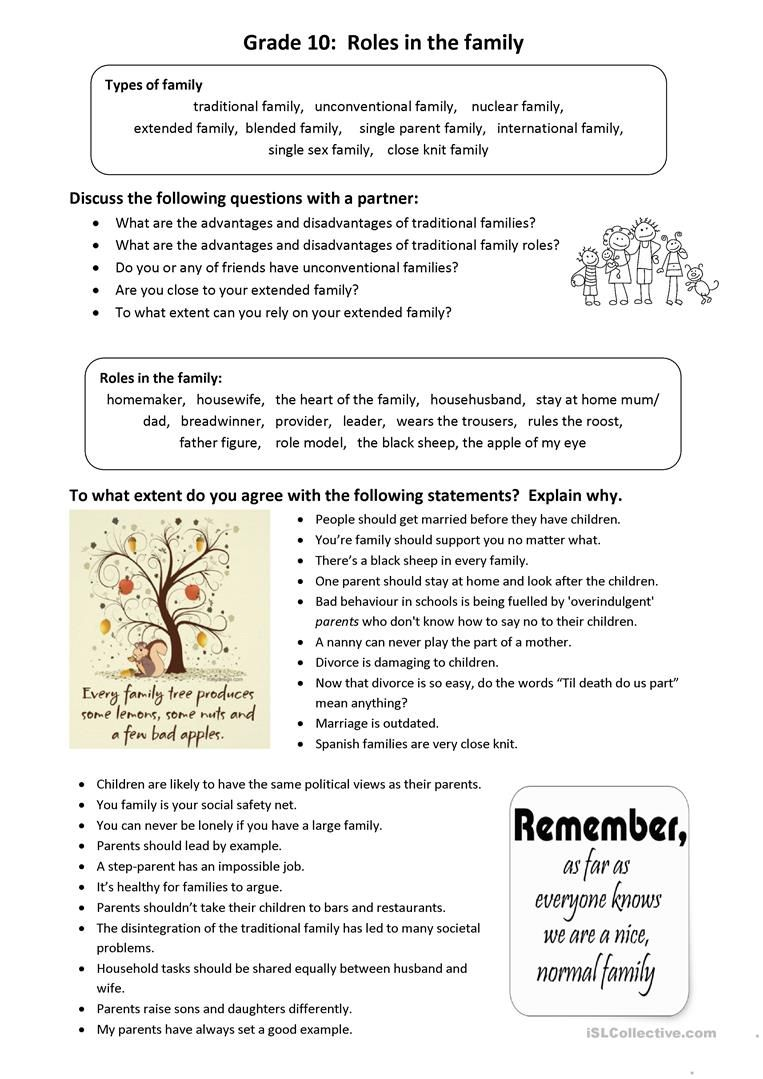 Roles in the Family Idioms and Conversation worksheet