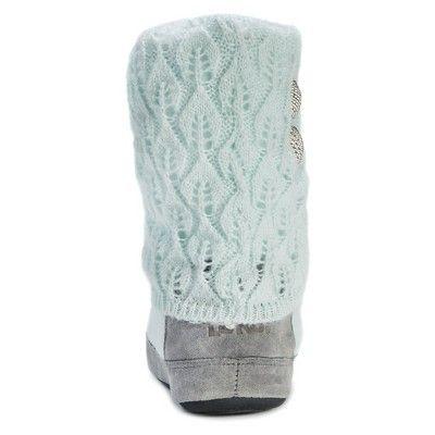 Women's Muk Luks Sofia Sliver Button Detail Sweater Knit Slipper Boots - Mint (Green) M(7-8), Size: M (7-8)