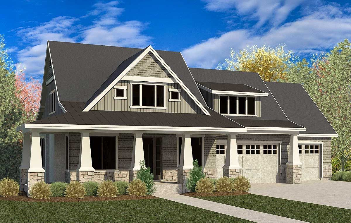 Craftsman House Plan with 3-Car Garage and Master On Main - 290075IY on craftsman homes with detached garage, cape cod with 3 car garage, craftsman homes with bonus room over garage,