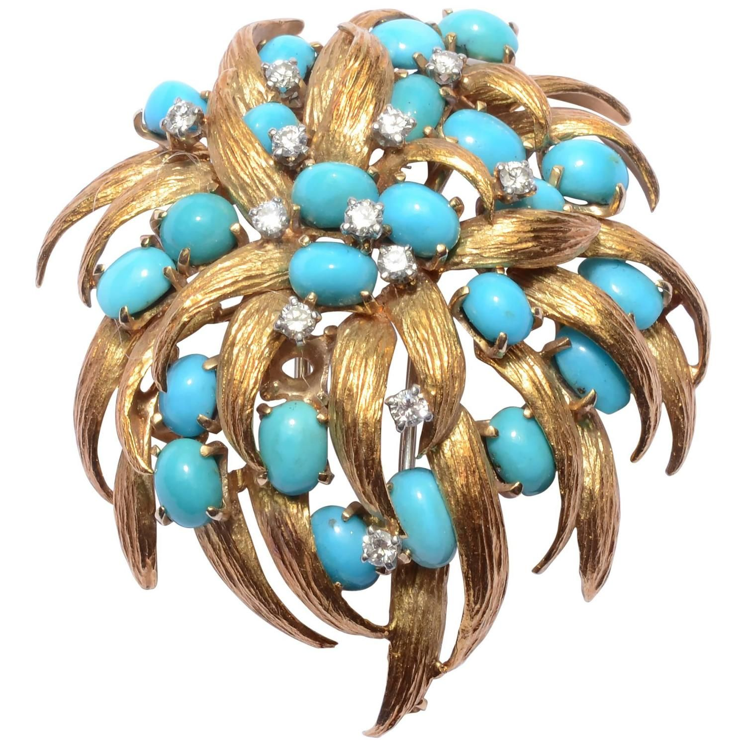 David Webb Turquoise and Diamond Brooch