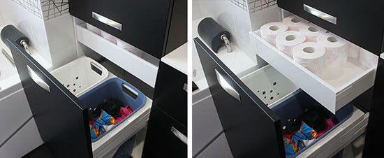 Un meuble contemporain, avec des façades en verre noires et blanches - meuble salle de bain panier a linge