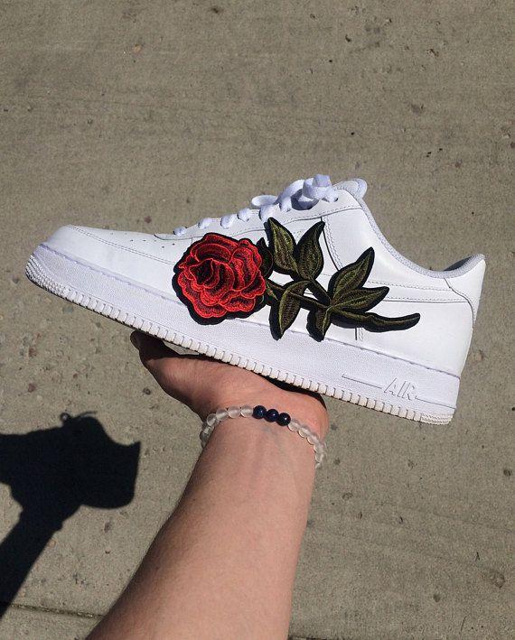 e92018e1a8a4 Rose Embroidery Custom Nike Air Force 1
