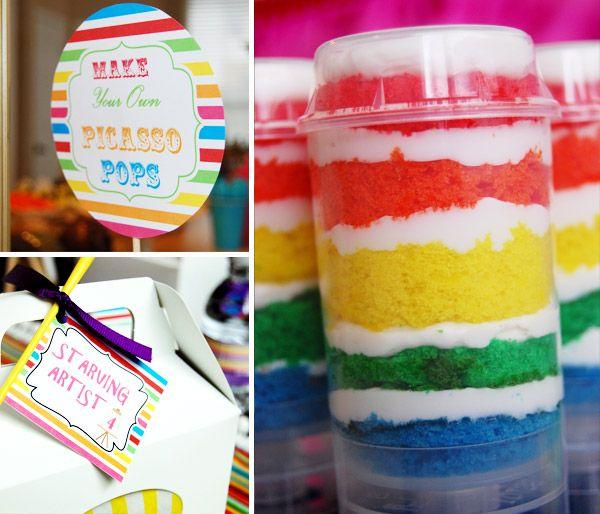 Push Pop Cake colorido para Festa Pintando o 7. É a mais nova moda entre os doces!