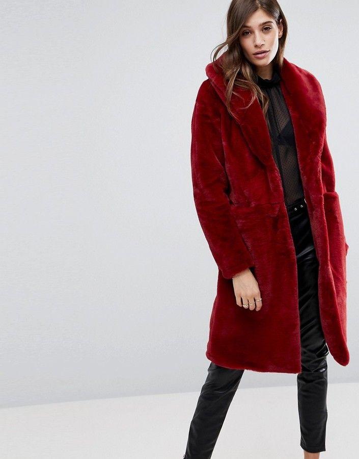 fe1f8ecaf Vero Moda Long Faux Fur Jacket | Jackets | Long faux fur coat, Fur ...