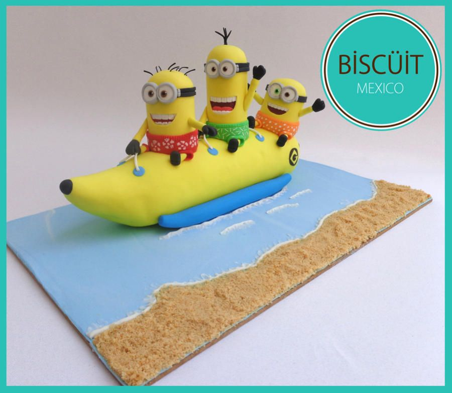 Minions banana boat sweet summer collab by bisc it - Banana cake decoration ...