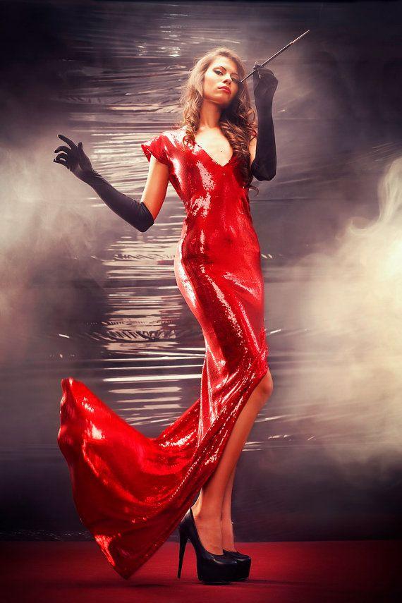 Custom Made Gown Sequins Red Dress Burlesque Red Dress Wedding ...
