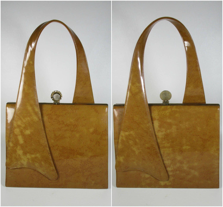 Vintage Art Deco Purse Vintage Handbag Vintage Brown Vinyl Purse
