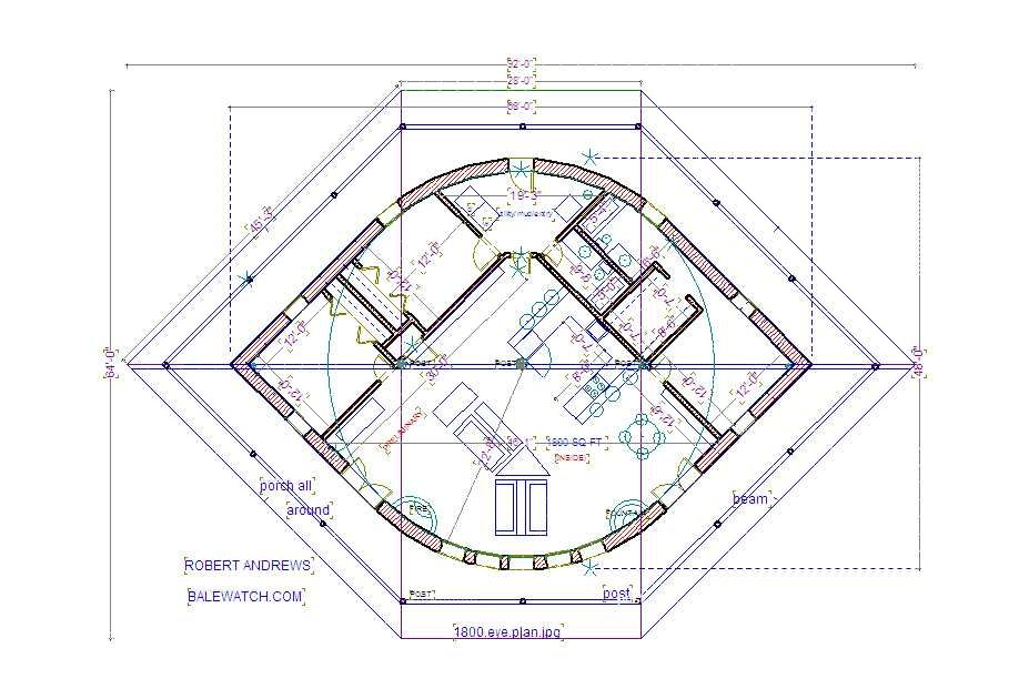 a straw bale house plan,1800 sq. ft. (EYE)
