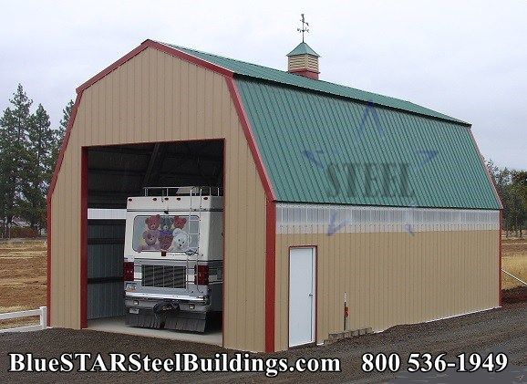 Gambrel Motor Coach Garage Steel Motor Coach Garage Call Blue Star Steel Construction For A Quote 1 800 536 1949 Gambrel Style Metal Buildings Gambrel