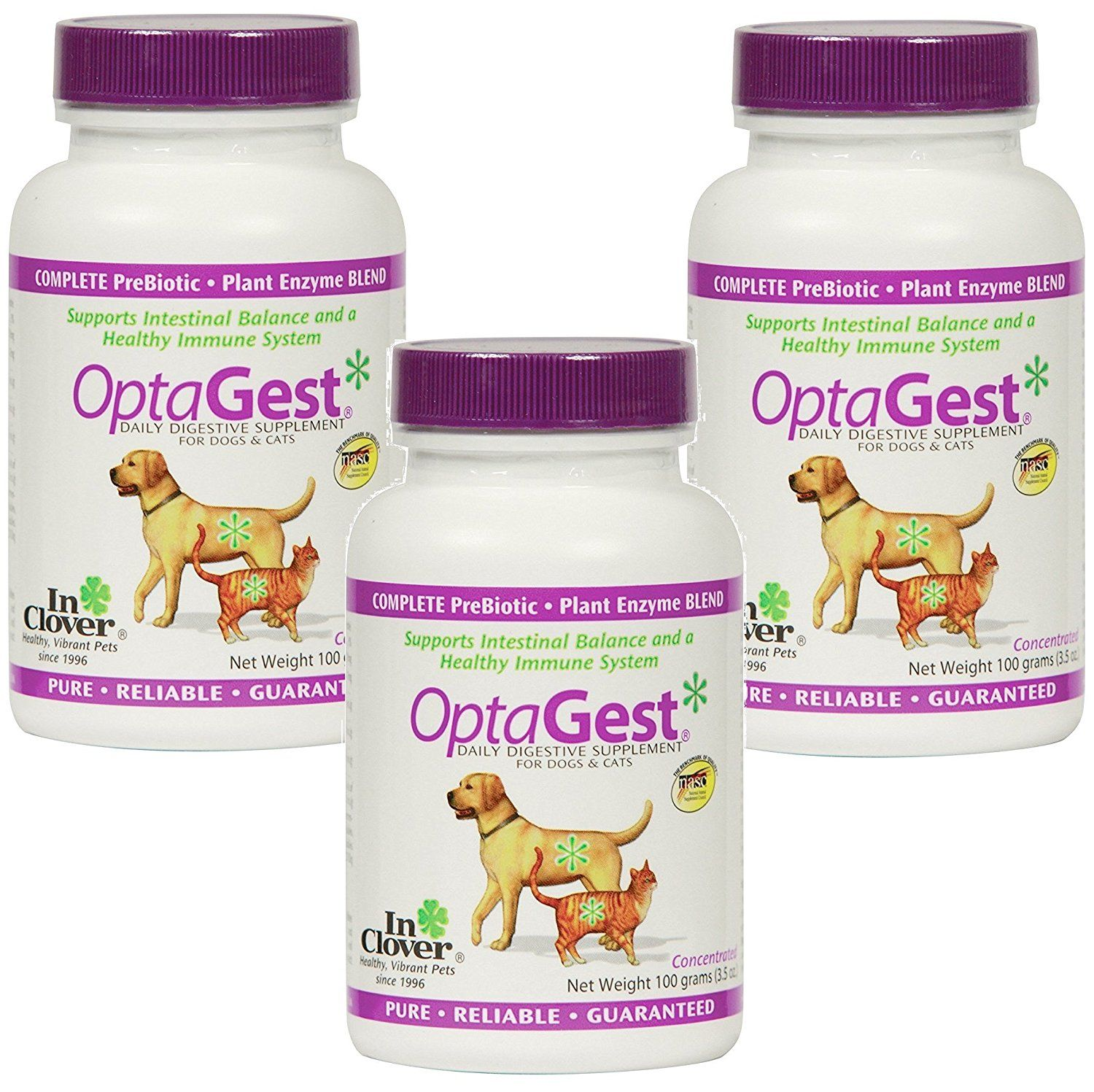 3 pack in clover optagest digestive aid dog and cat