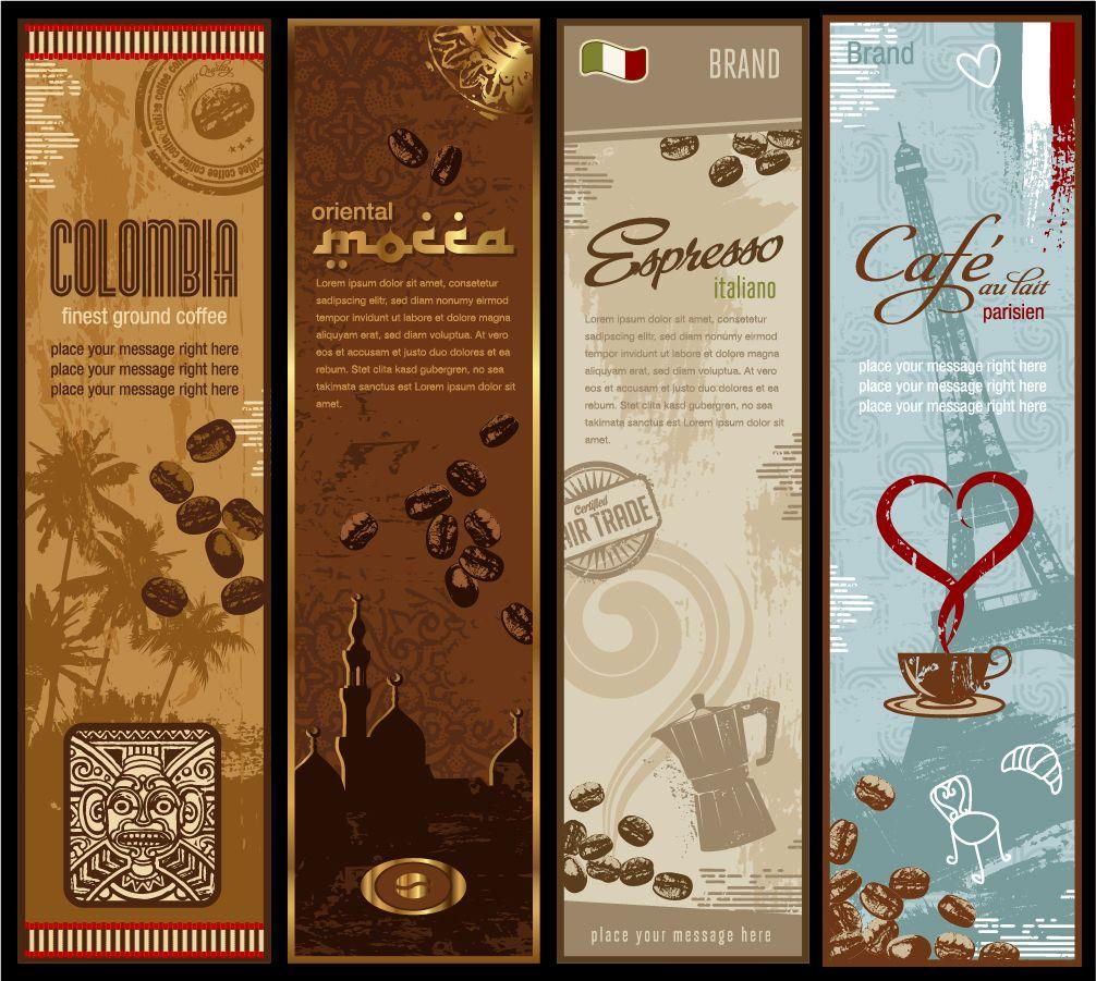 珈琲豆を題材にしたバナー Coffee Beans Theme Banner イラスト素材 コーヒーカード コーヒー バナー