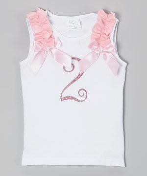 Miss Fancy Pants White & Pink '2' Glitter Birthday Tank - Toddler by Miss Fancy Pants #zulily #zulilyfinds