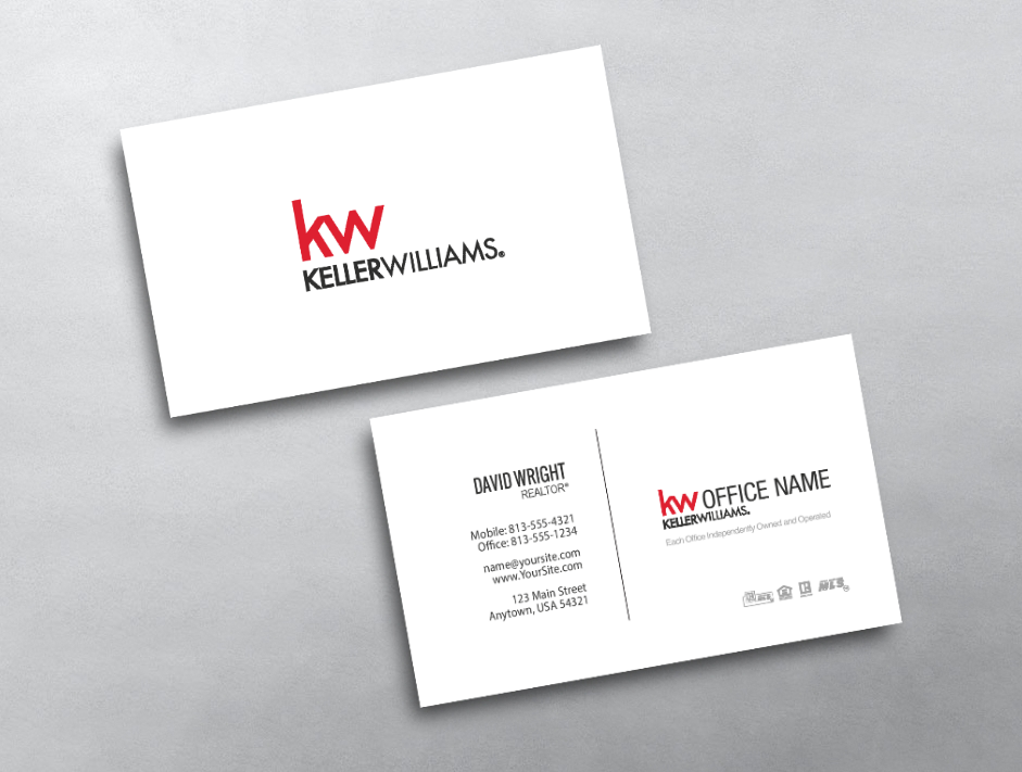 This Clean Keller Williams Business Card Features A Simple Yet Professional Design Keller Williams Business Cards Real Estate Business Cards Business Cards