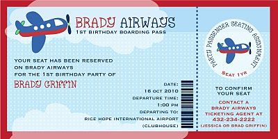 Plane Ticket Invitation Template Free Invites Pinterest Ticket - Airplane birthday invitation template
