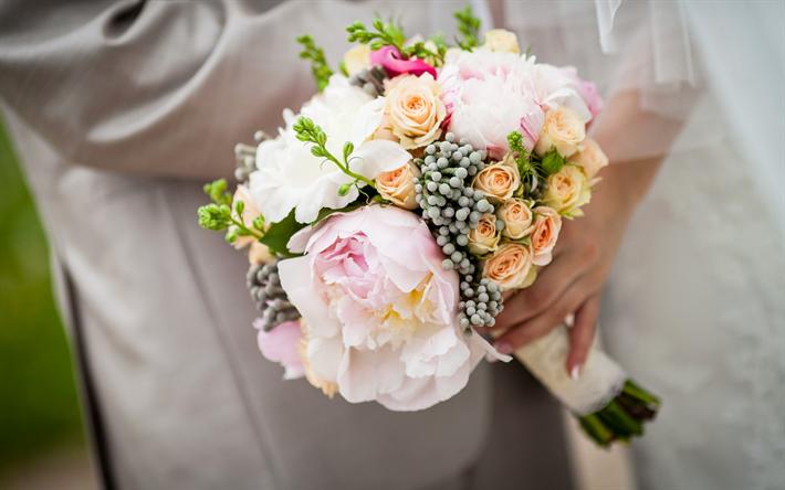 Telecharger Fonds D Ecran Bouquet De Mariage De Pivoine De Mariee Robe De Mariee Blanche Un Mariage Un Beau Bouquet Svadebnye Bukety Buket Svadba Buket Nevesty