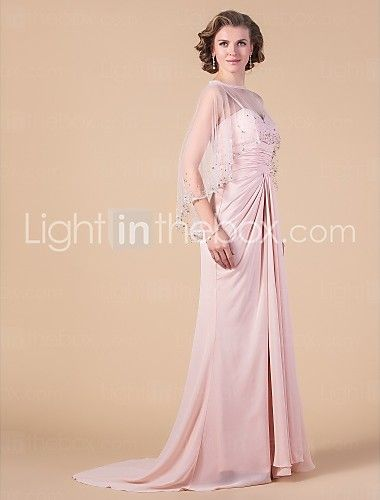 Sheath/Column Sweetheart Sweep/Brush Train Chiffon Mother of the Bride Dress With A Wrap - USD $ 179.99