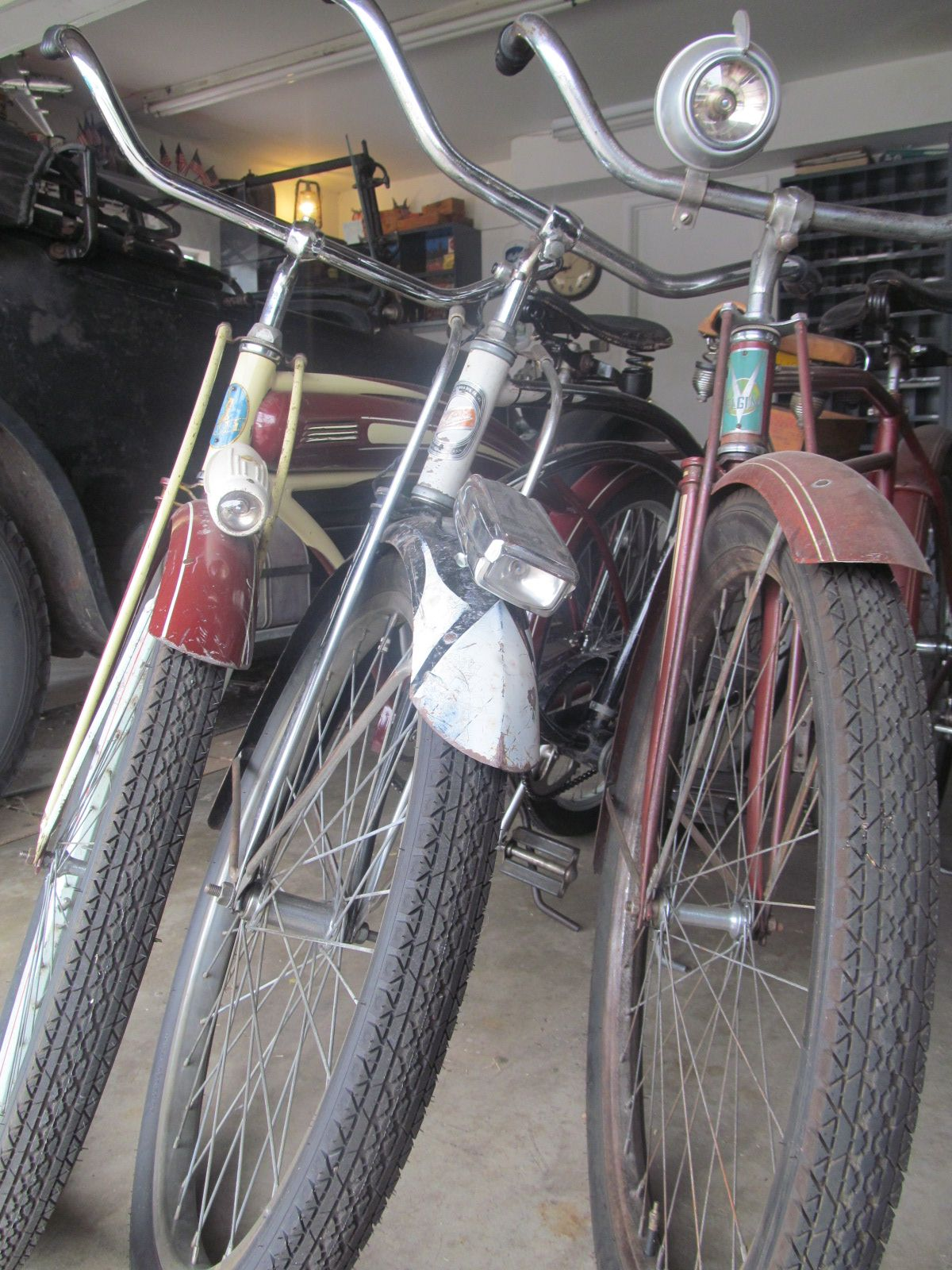 01a9bf4880d Vintage bikes: 1941 Huffman, 1961 Columbia Newsboy, 1937 Elgin. 1925 Dodge  Brothers (in background)