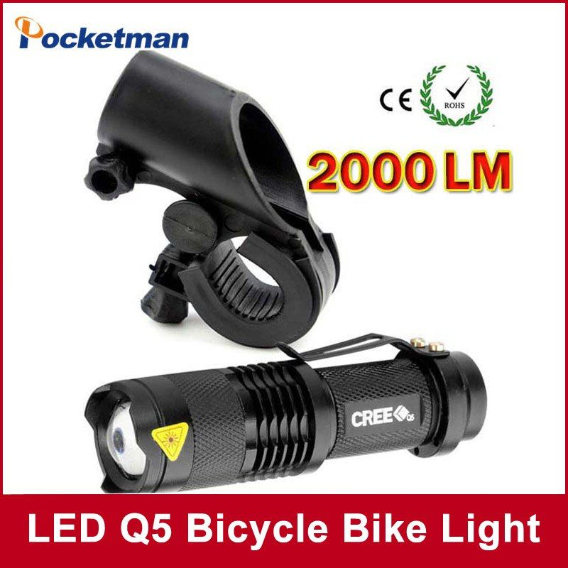 4 14 40 De Reduction Led Velo Lumiere 2000 Lumens Q5 Led Velo Lumiere Cyclisme Zoomable Lampe De Poche Mini Torche Velo Avant Tete Lumiere Avec Support Q5 Wif