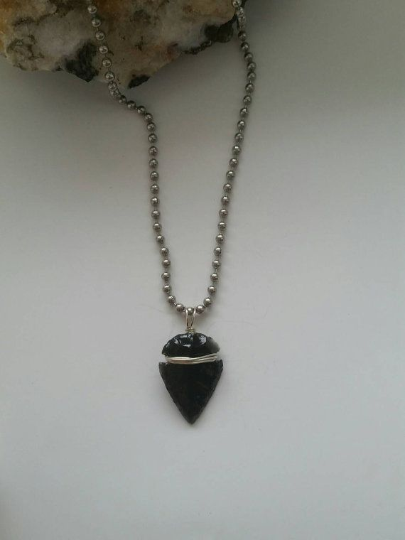 """BUY 1 GET 1 FREE STAINLESS STEEL 24/"""" BALL CHAIN NECKLACE W  WIRE WRAP ARROWHEAD"""