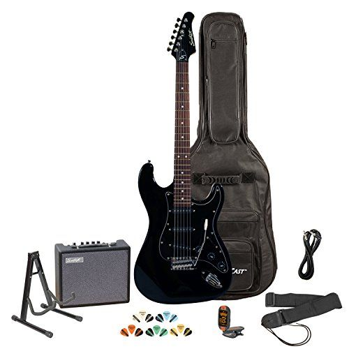 Sawtooth ST-ES-BKB-KIT-3 Black Electric Guitar with Black Pickguard – Includes Accessories, Amp, Gig Bag and Online Lesson #electricguitars