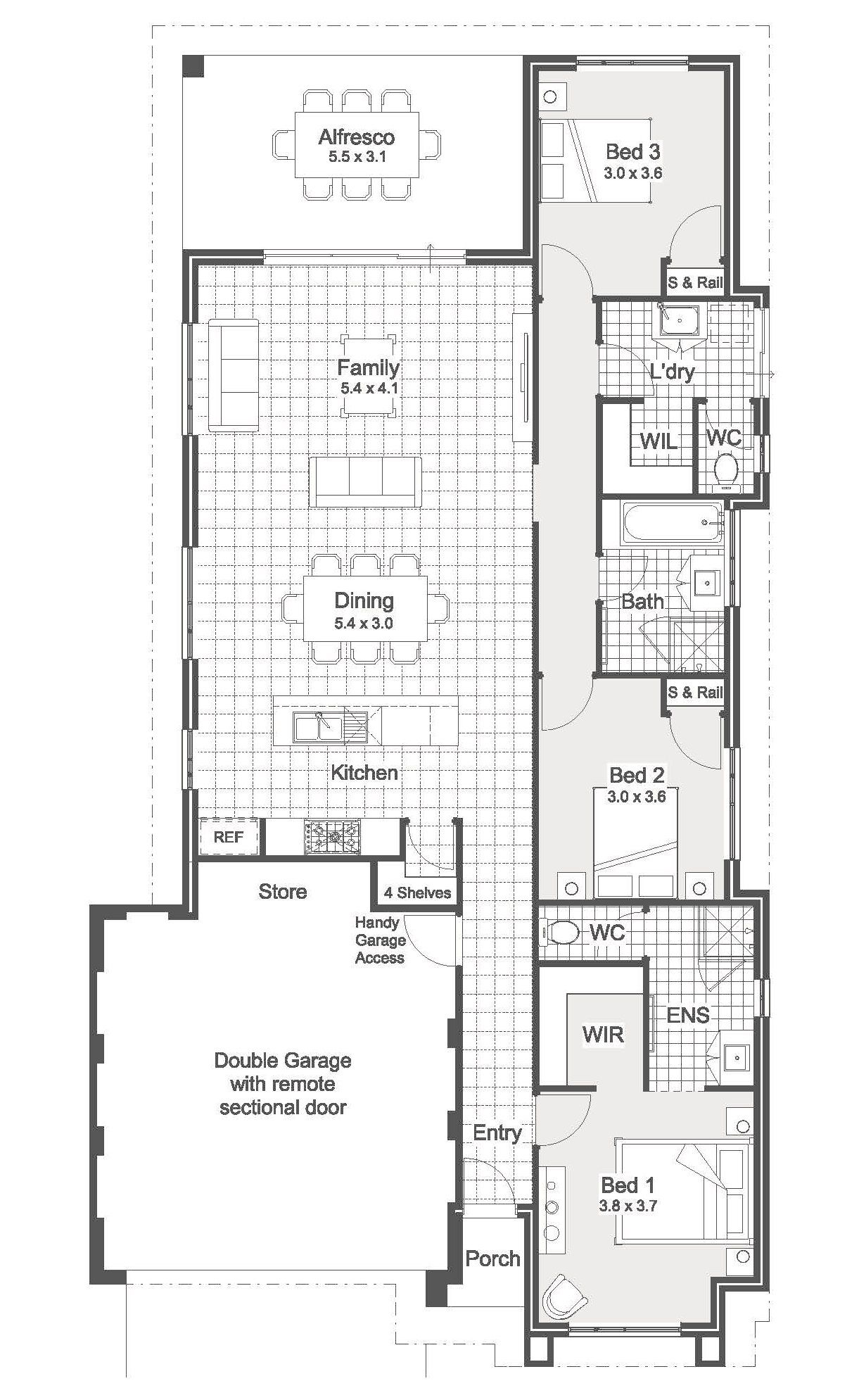 3 Bedroom Home Designs And Plans Architectural Floor Plans Weatherboard House House Plans